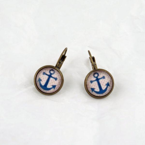 Ohrring blauer Anker