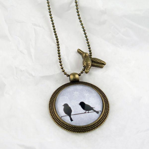 Medaillon-Halskette Zwei Vögelchen