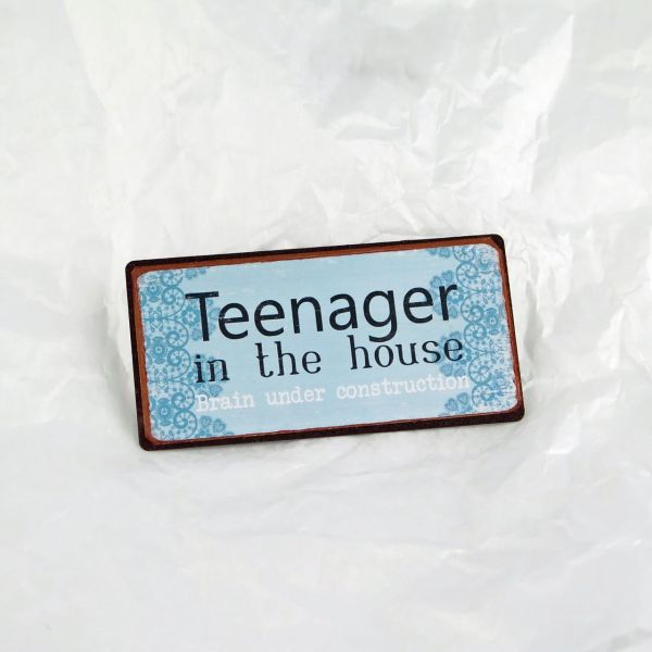 "Magnet ""Teenager in the house, brain under constructio"""