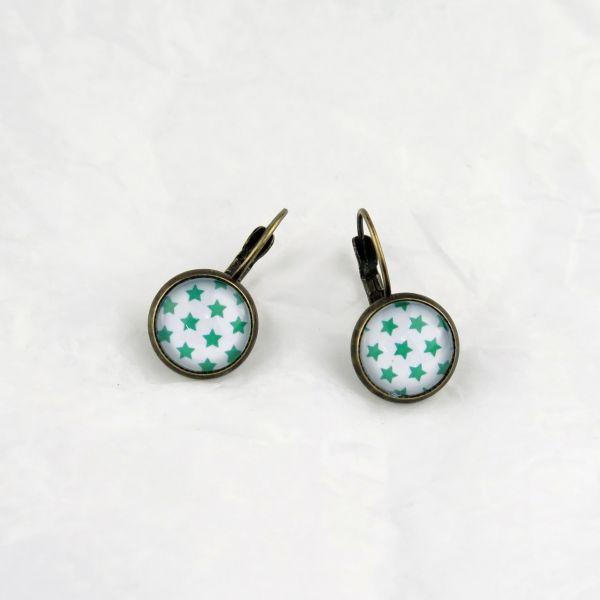 Ohrring weiss/grüne Sternchen