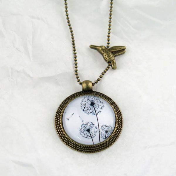 Medaillon-Halskette 3 Löwenzahn schwarz-weiss