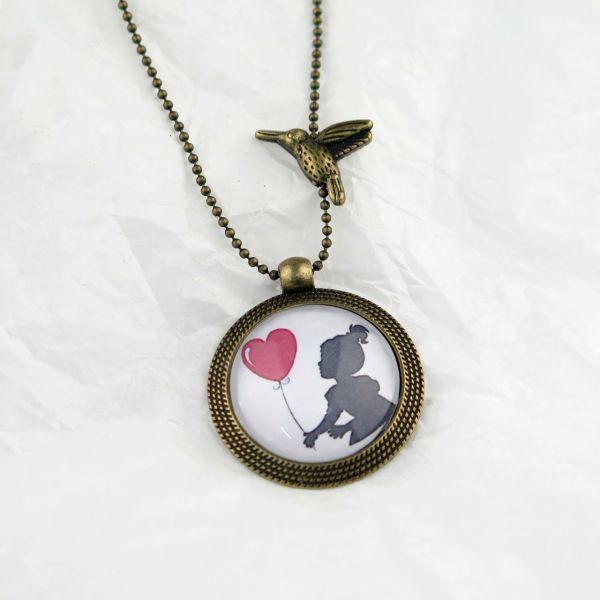 Medaillon-Halskette Herz-Ballon