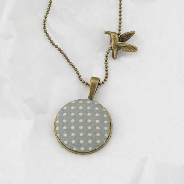 Medaillon-Halskette Stoff mint