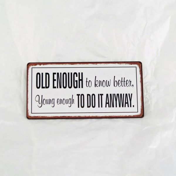 "Magnet ""Old enough to know better. Young enough to do it anyway."""