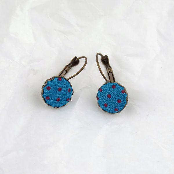 Ohrring Stoff blau/lila Punkte