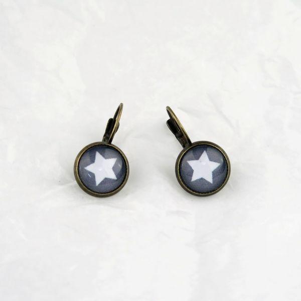 Ohrring grau/weisser Stern