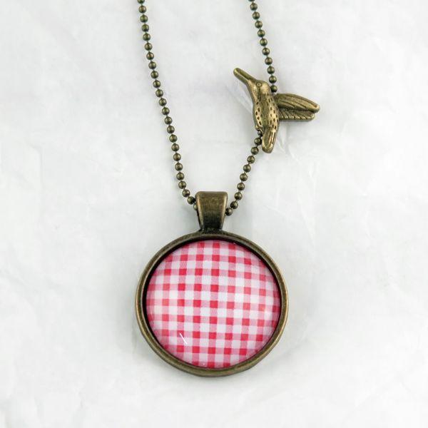 Medaillon-Halskette Karo rot/weiss