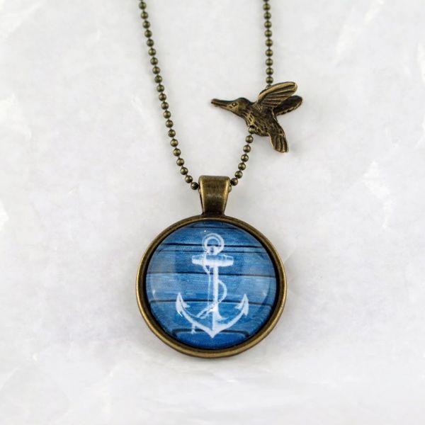 Medaillon-Halskette Anker weiss / blau