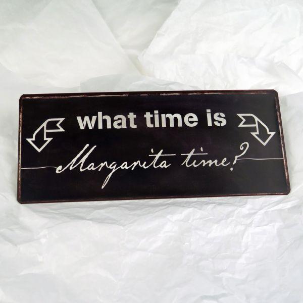 """Deko-Schild """"What time is Margarita time?"""""""