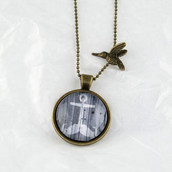 Medaillon-Halskette Schnauz-Anker