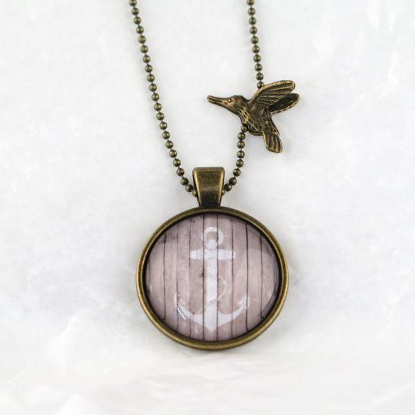 Medaillon-Halskette Anker weiss / beige