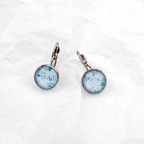 Ohrring Rosenmuster blau