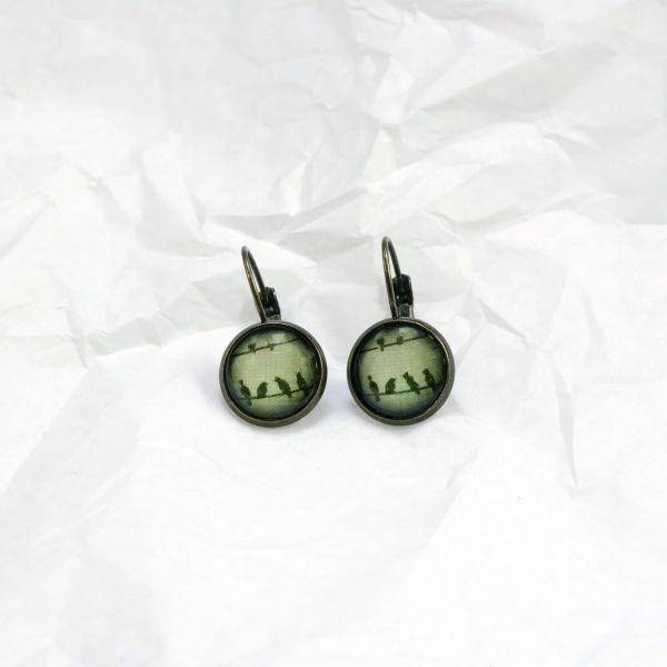 Ohrring oliv Vögel auf Drahtseil